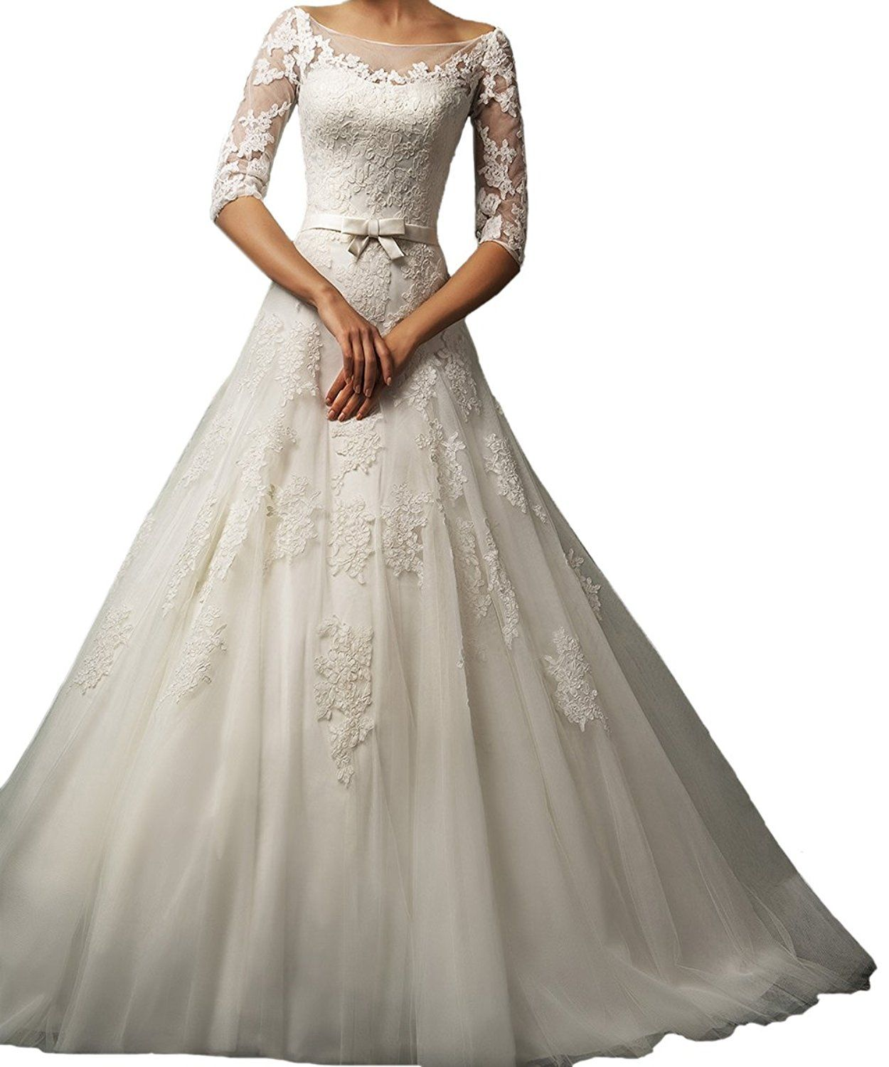 Honey qiao ivory lace wedding dresses long half sleeves bridal gowns