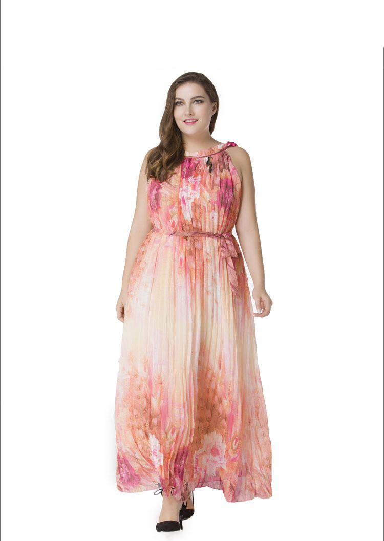 509471b94c Fashionable Design Fat Women Large Plus Size Chiffon Maxi Dress Flower  Printed Sleeveless Pink Long Dress