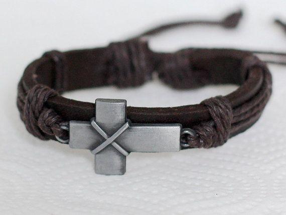 186handmade Brown Men S Leather Bracelet Stylized Metal Cross Jewelry Religious Birthday Gift
