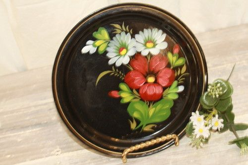.Zhostovo style. Russian Round Red Blue Florals on Black