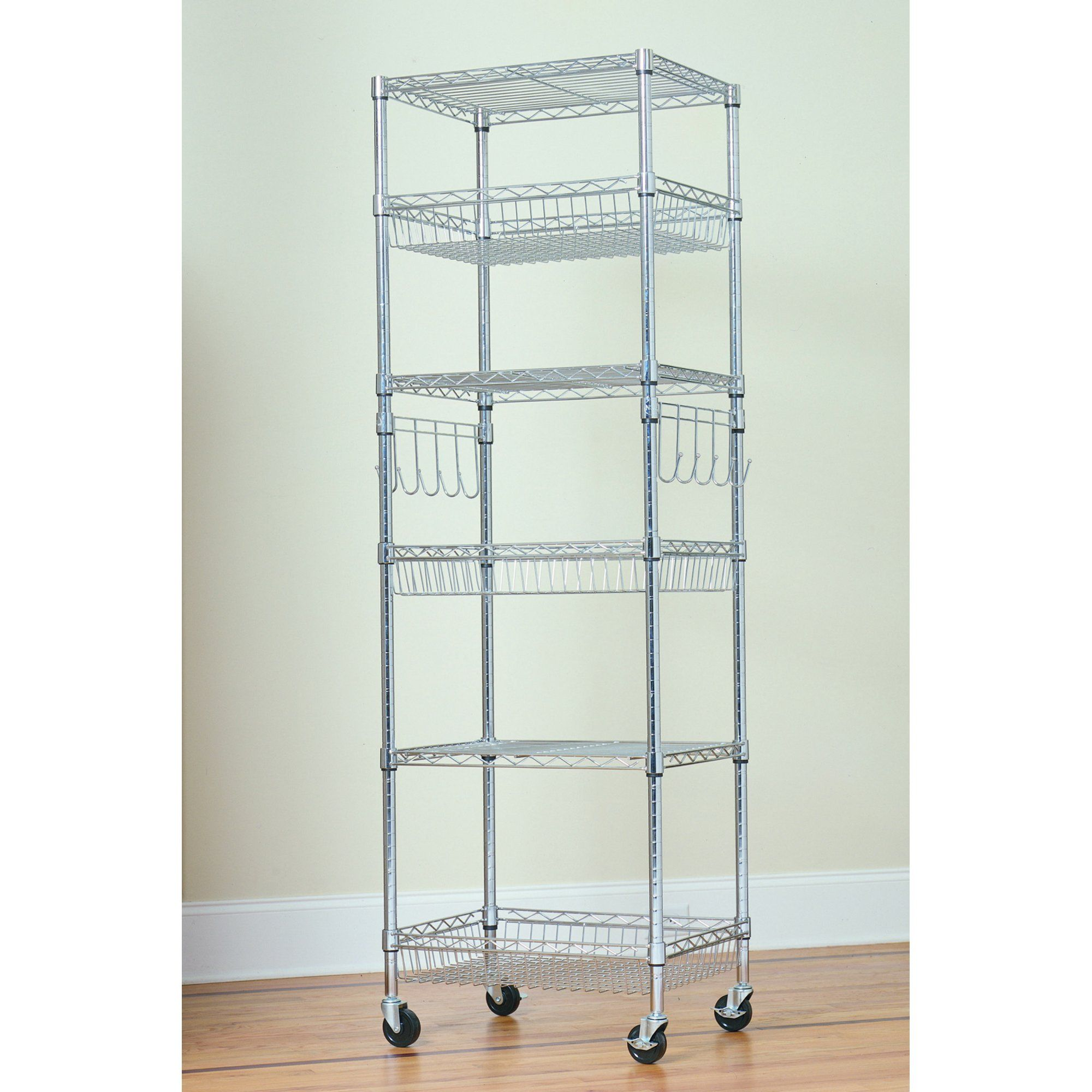Hss 6 Tier Wire Shelving Tower Rack With Casters And Shelf Liners 18 Dx24 Wx75 H Chrome Walmart Com In 2020 Wire Storage Racks Wire Storage Wire Shelving