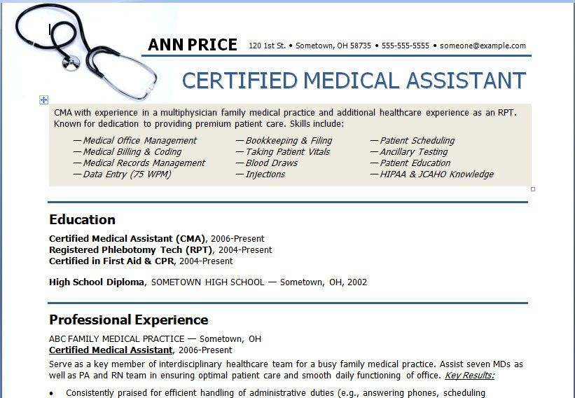 Medical Assistant Resume Template Need to show this to my students