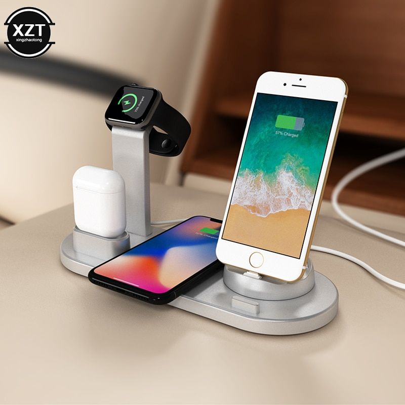 4 In 1 Charging Dock Station For Apple Watch 5 4 3 2 1 Iphone 11 X Xs Xr 7 8 Airpods 10w Qi W In 2020 Charging Station Wireless Apple Watch