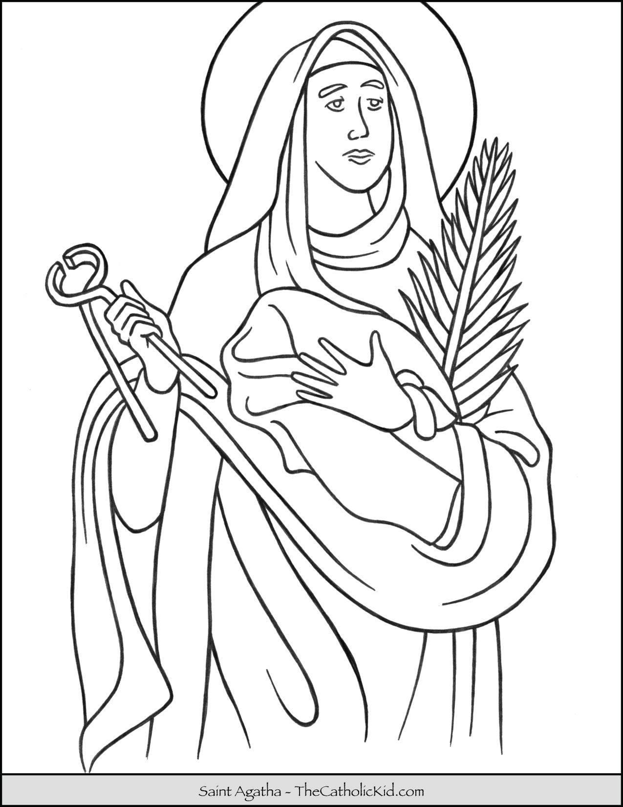Saint Agatha Coloring Page Thecatholickid Com Saint Coloring