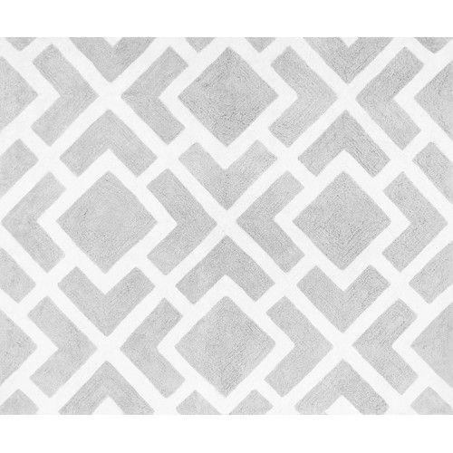Sweet Jojo Designs Diamond Gray and White Floor Rug