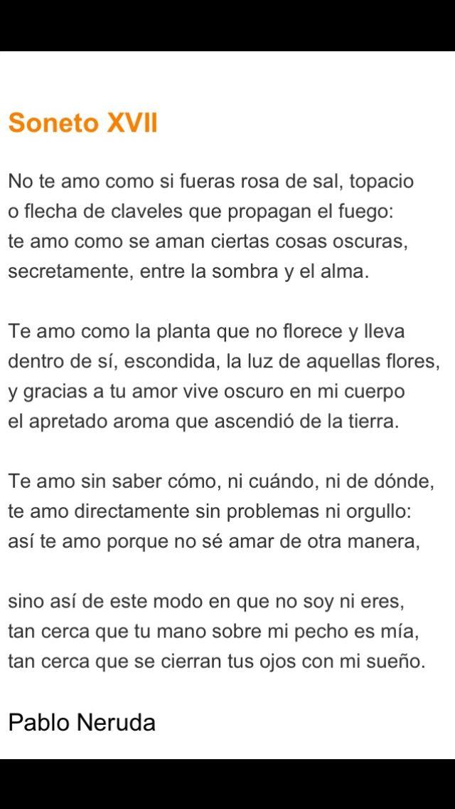 Pablo Neruda Soneto Xvii 17 In Spanish Espanol Amor I Can T
