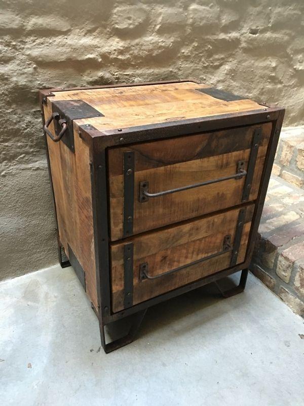 Stoer houten industrieel landelijk kastje kast ladenkast nachtkastjes ladekast nachtkastje - Console ingang kast lade ...