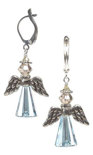 Angel Wing Earrings with Swarovski Crystal Beads and Antiqued Pewter Beads by Jamie Smedley.