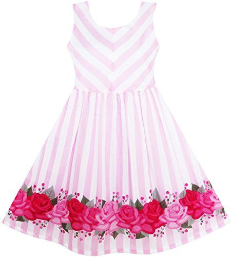 HX21 Girls Dress Striped Rose Print Tulle Pink Size 7 Sun... https ...