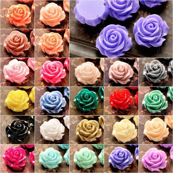 Resin Vintage Style Rose Flower Cabochon cameo Flatback choose 21x21x9.5mm