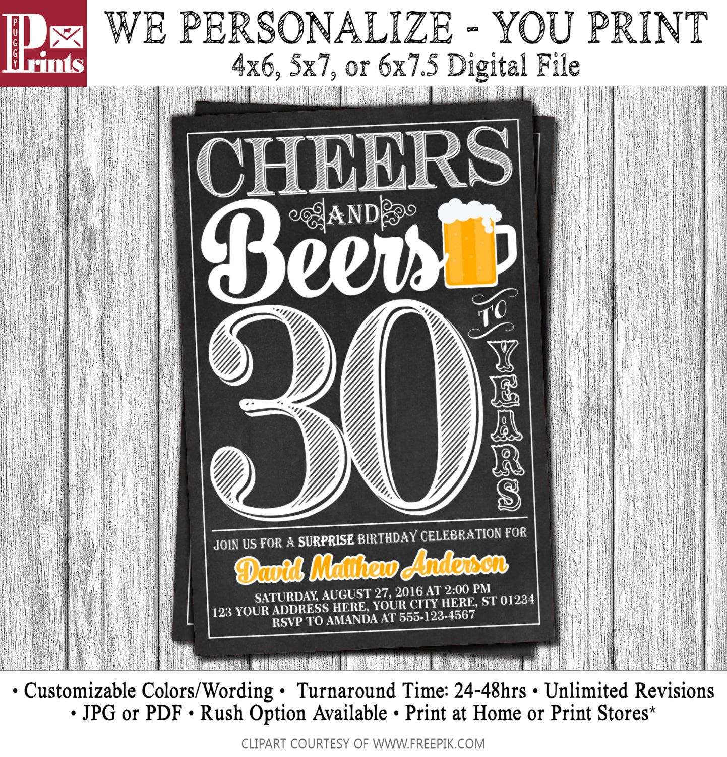 Cheers And Beers To Years Birthday Invitation Th Th - Birthday invitation 30 years old