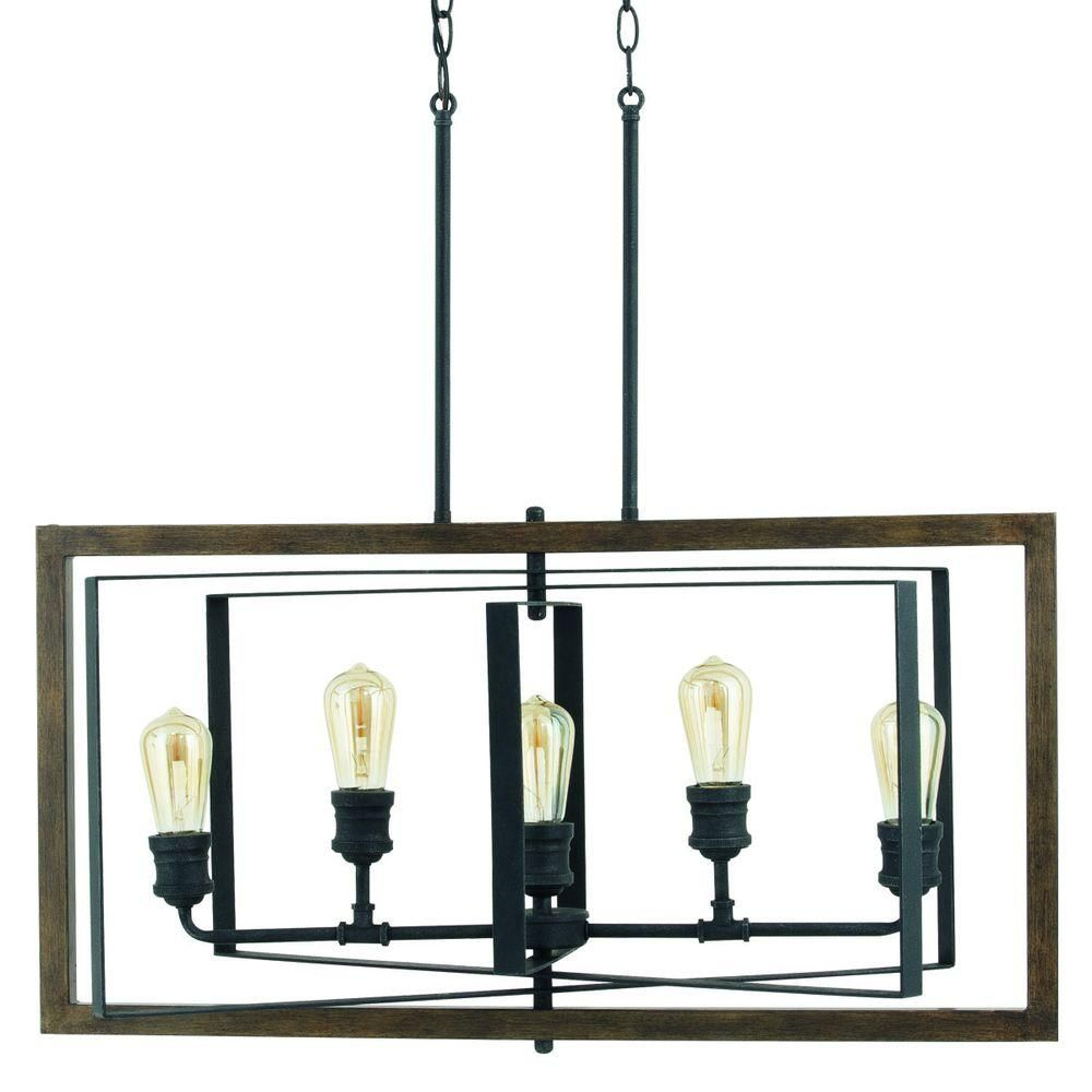 Progress Lighting Reserve Collection 5 Light Gilded Iron Linear Chandelier P7922 71 Chandelierhome Depot