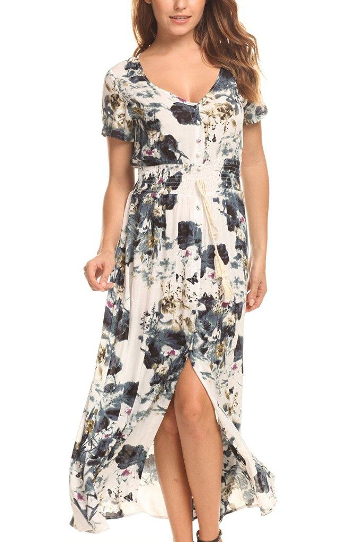 cb004bf17063 Women's Clothing, Tops & Tees, Blouses & Button-Down Shirts, Women's Button  Up Split Floral Print Long Maxi Boho Bohemian Dress - Deep Grey -  CO184Q7HYI6 ...