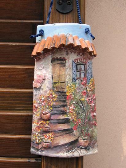 D coupage tegola realizzata da pogliani marita tejas - Coppi decorati in rilievo ...