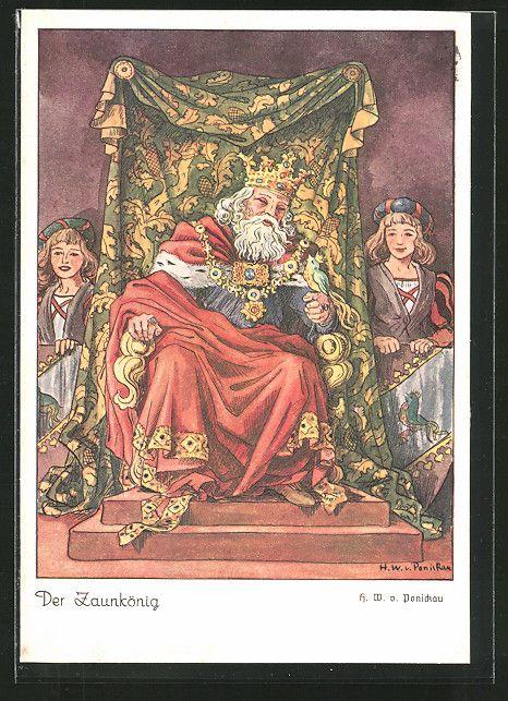 Alte Ansichtskarte: Künstler-AK Der Zaunkönig sitzt auf seinem Thron, Märchen
