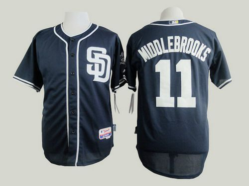 Men's San Diego Padres #11 Will Middlebrooks Navy Blue Jersey