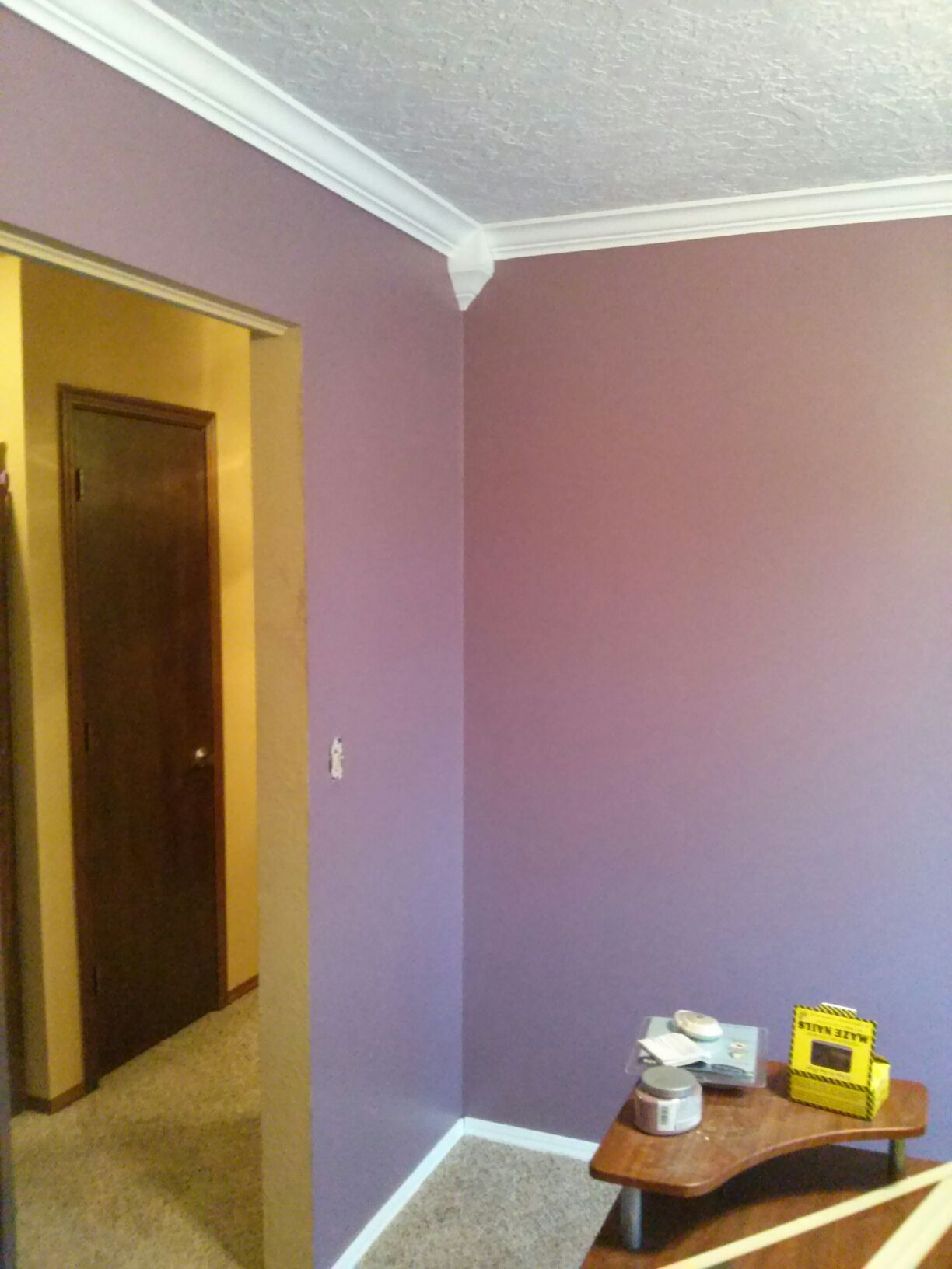 Valspar Plum Legacy and new crown moulding in Jason s office