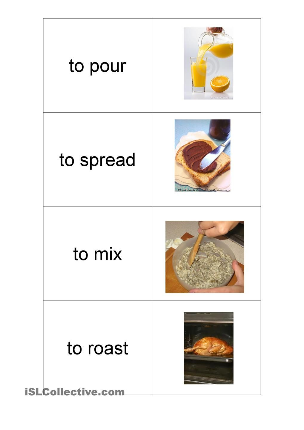 Cooking Verbs | Independent Living Skills | Pinterest | English ...