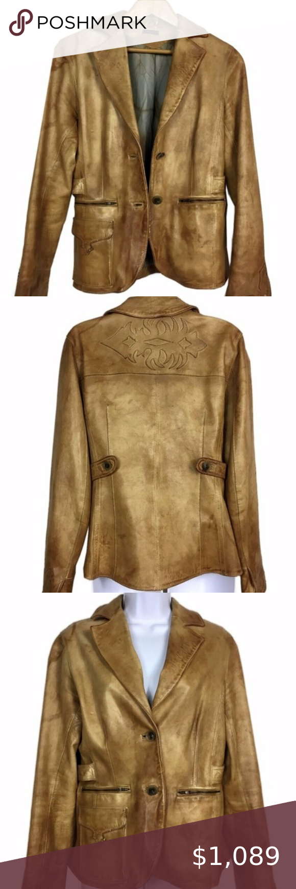 Blur Brown Cubalibre Italian Leather Jacket Size S in 2020