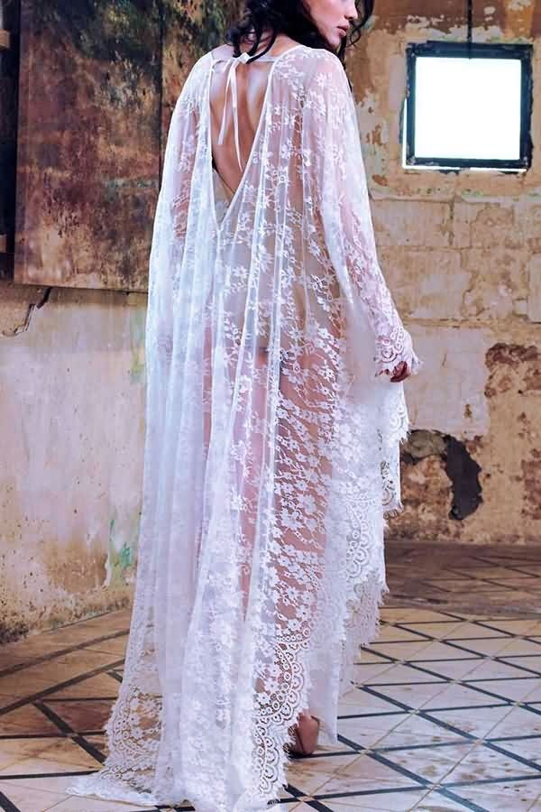 20501a8680a White V Neck V Back Flora Lace Gown Sexy Maxi Cover Up #054309 @ Cover