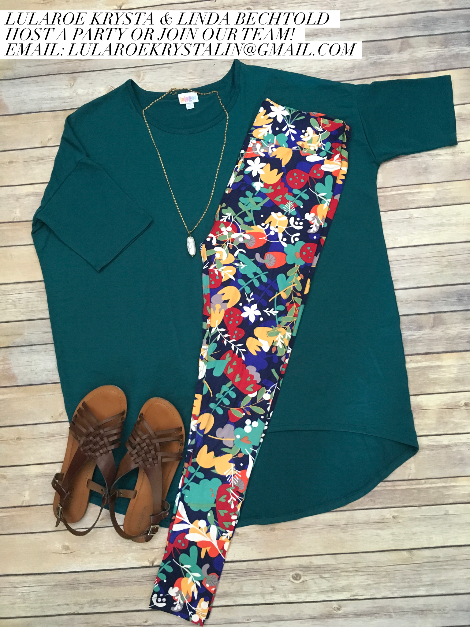 Irma Tunic and Floral Printed Leggings. LuLaRoe Style Inspiration. Spring/Summer Style Flat Lay Photography Fashion