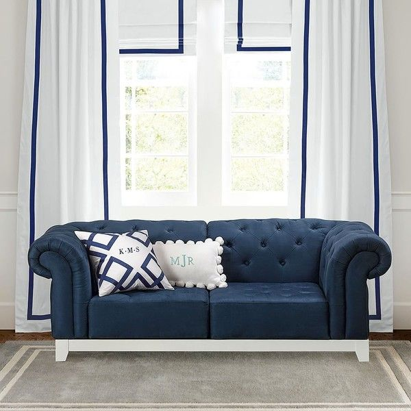 PB Teen Roll Arm Cushy, Loveseat (2 Corners), Navy (2.175 BRL) ❤ liked on Polyvore featuring home, furniture, sofas, storage sofa, navy blue loveseat, navy tufted sofa, navy couch and tufted couch