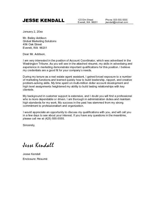 real cover letter examples