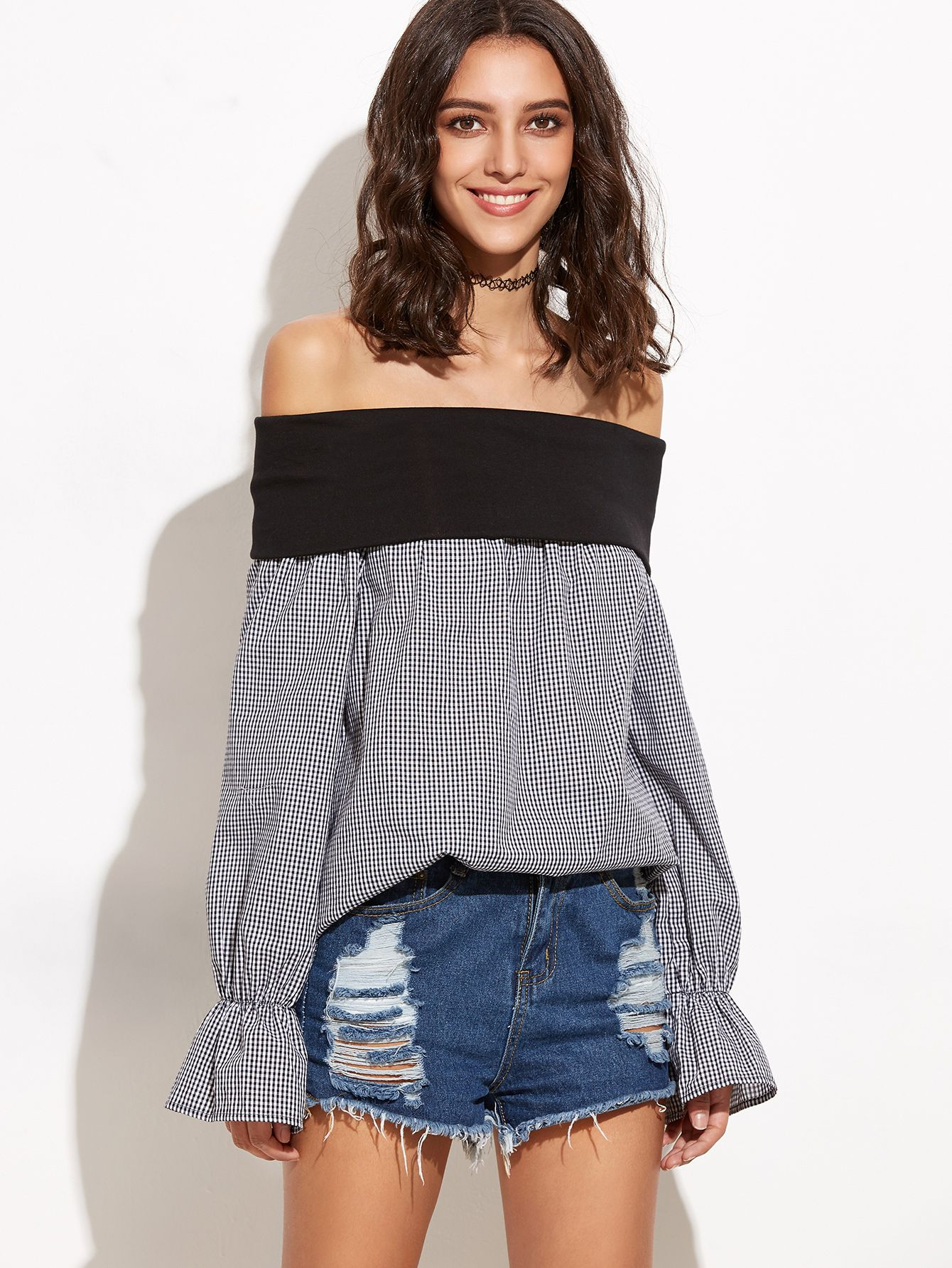 Black Gingham Foldover Off The Shoulder Top — 0.00 € ------------color: Black and White size: L,M,XS