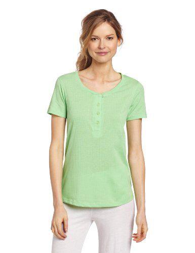 Hue Sleepwear Women's Short Sleeve Henley Sleep Tee