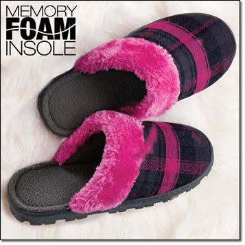 Perfectly Plaid for Her Memory Foam Slipper* Faux-fur collar. Cozy polar-fleece lining and memory foam footbed.Sizes: S(5-6), M(7-8), L(9-10) intro special $14.99 Campaign 24. http://youravon.com/irmae gifts of COMFORT & JOY! TIP: THINK COUPLES, SIBLINGS OR HUSBANDS AND WIVES. GIFTING IS EASY WITH COMFY GIFT IDEAS FOR HIM AND HER.