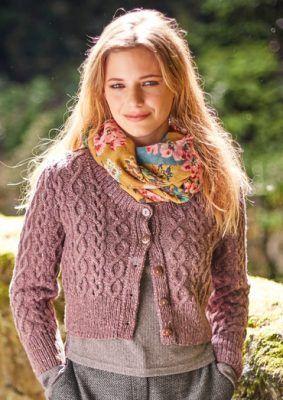 953d0d813 Skipness Cropped Aran Cardigan Free Knitting Pattern