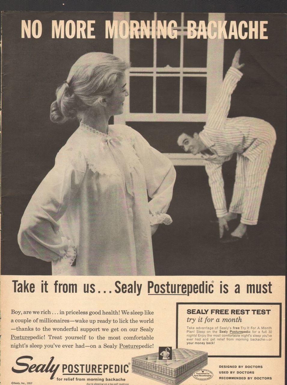 1957 Magazine Print Advertisement Ad Sealy Posturepedic Mattress