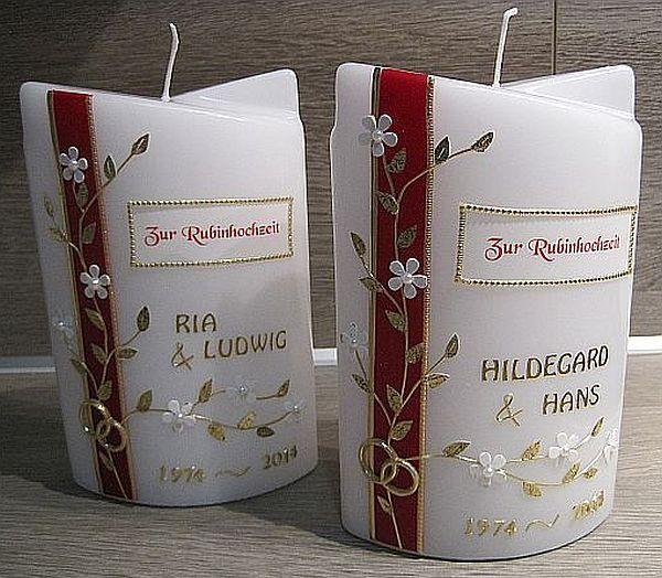 ein tolles geschenk zur rubinhochzeit kerze pinterest rubinhochzeit tolle geschenke und. Black Bedroom Furniture Sets. Home Design Ideas