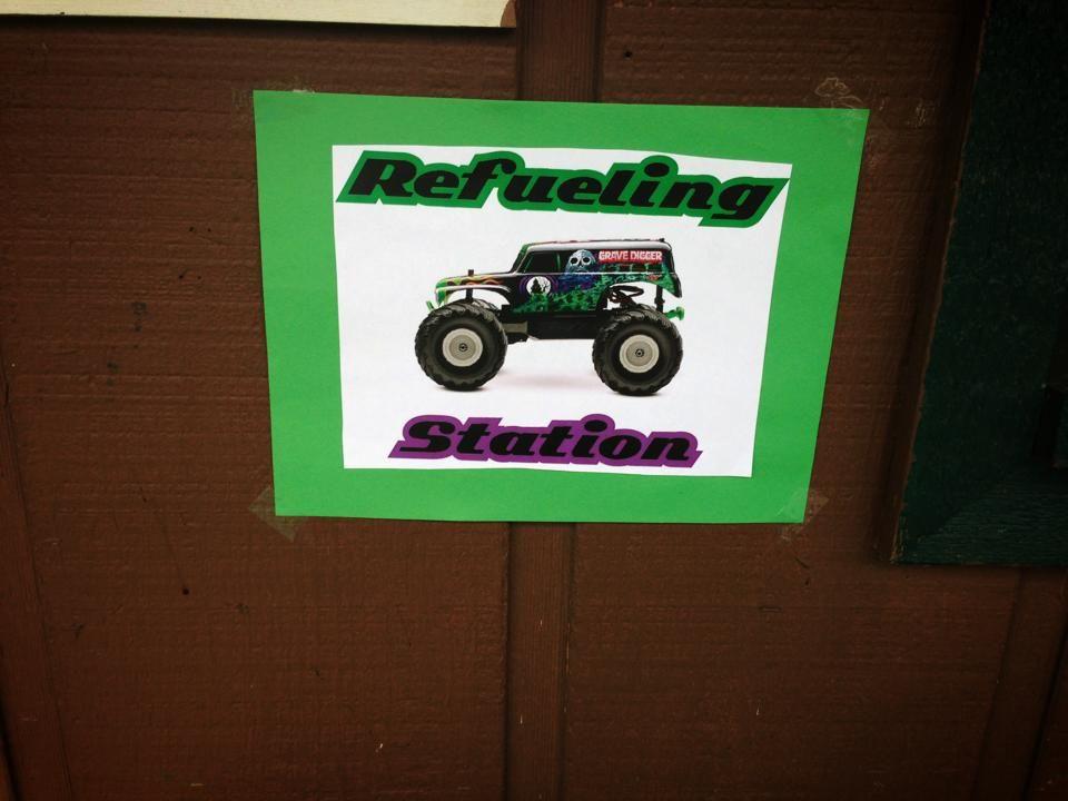 Refueling Station Sign near drinks. Monster Truck theme