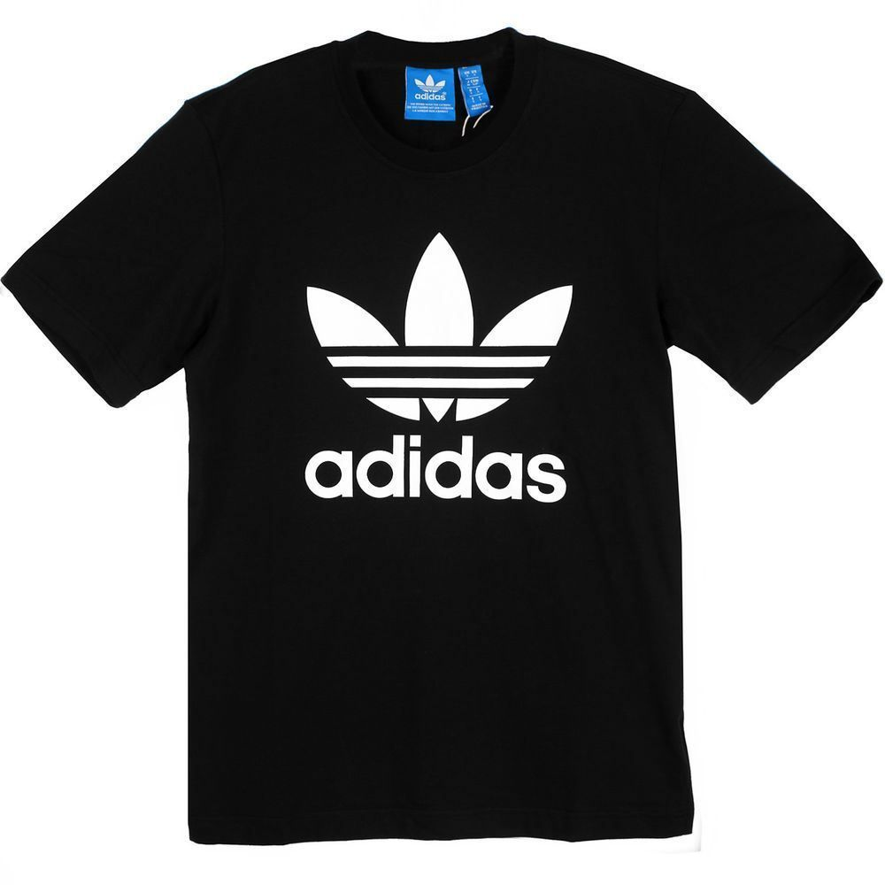 b99cda4d9 ADIDAS ORIGINALS TREFOIL T-SHIRT TEE BLACK CREWNECK SHORT SLEEVE 100% COTTON