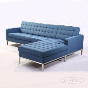 Florence Knoll Style Sectional Right Azure Houndstooth Twill   : knoll sectional - Sectionals, Sofas & Couches