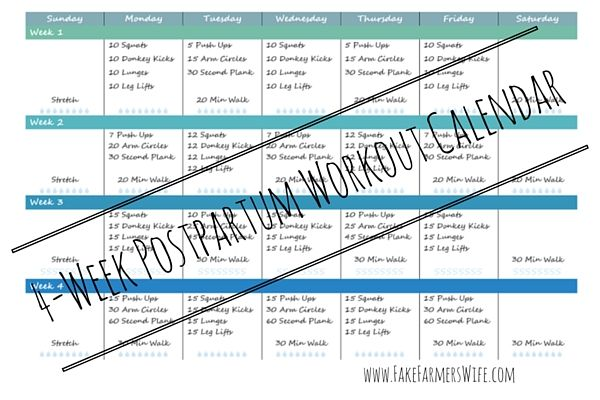 4 Week Postpartum Workout Calendar Printable by www.FakeFarmersWife.com