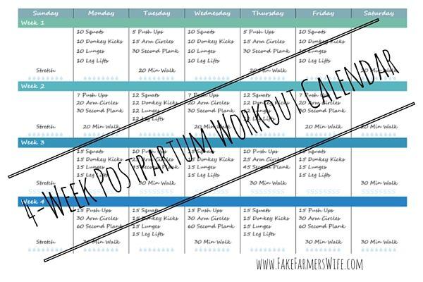 4 Week Postpartum Workout Calendar Printable by www.FakeFarmersWife.com