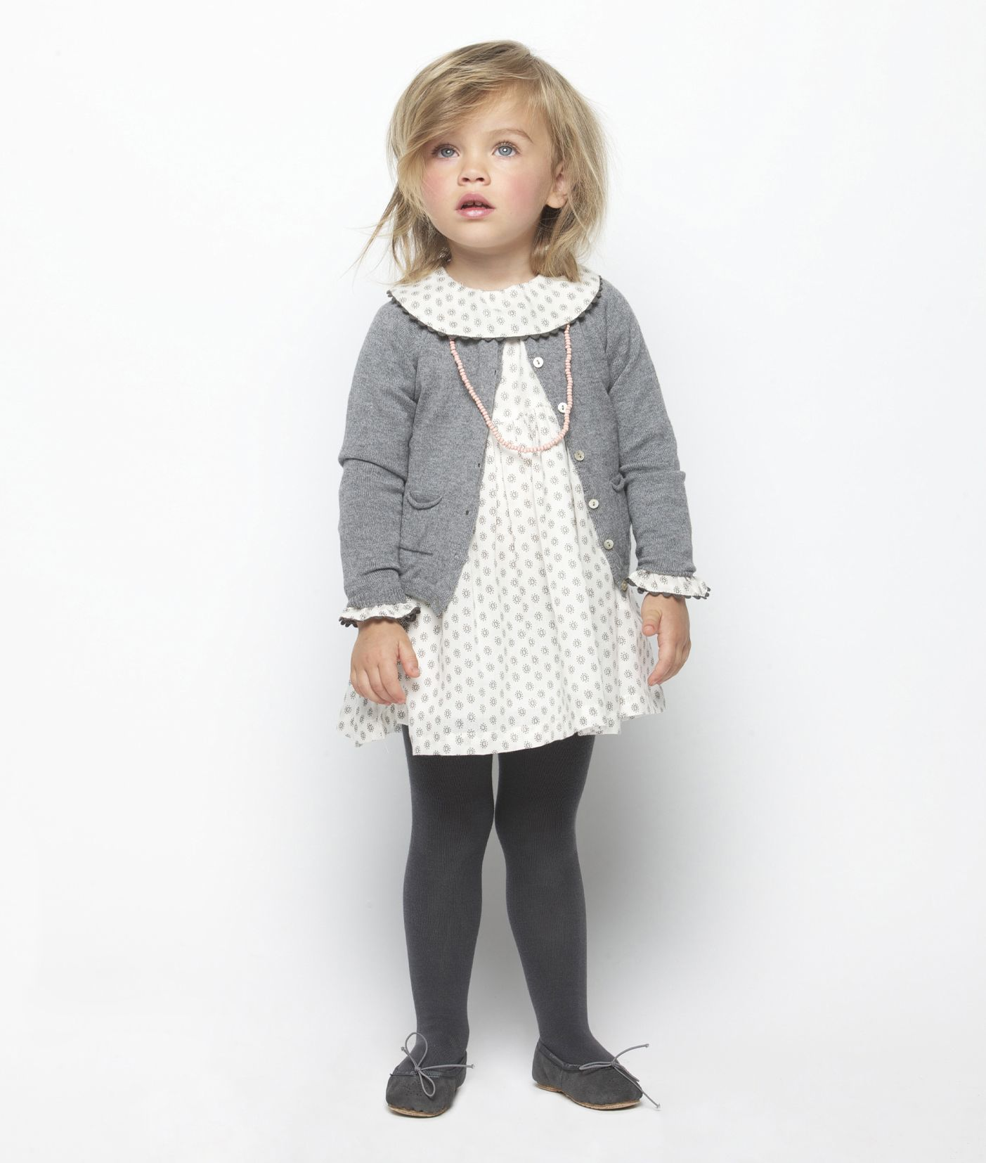 Girls Vintage Style Dress Tights And Sweater