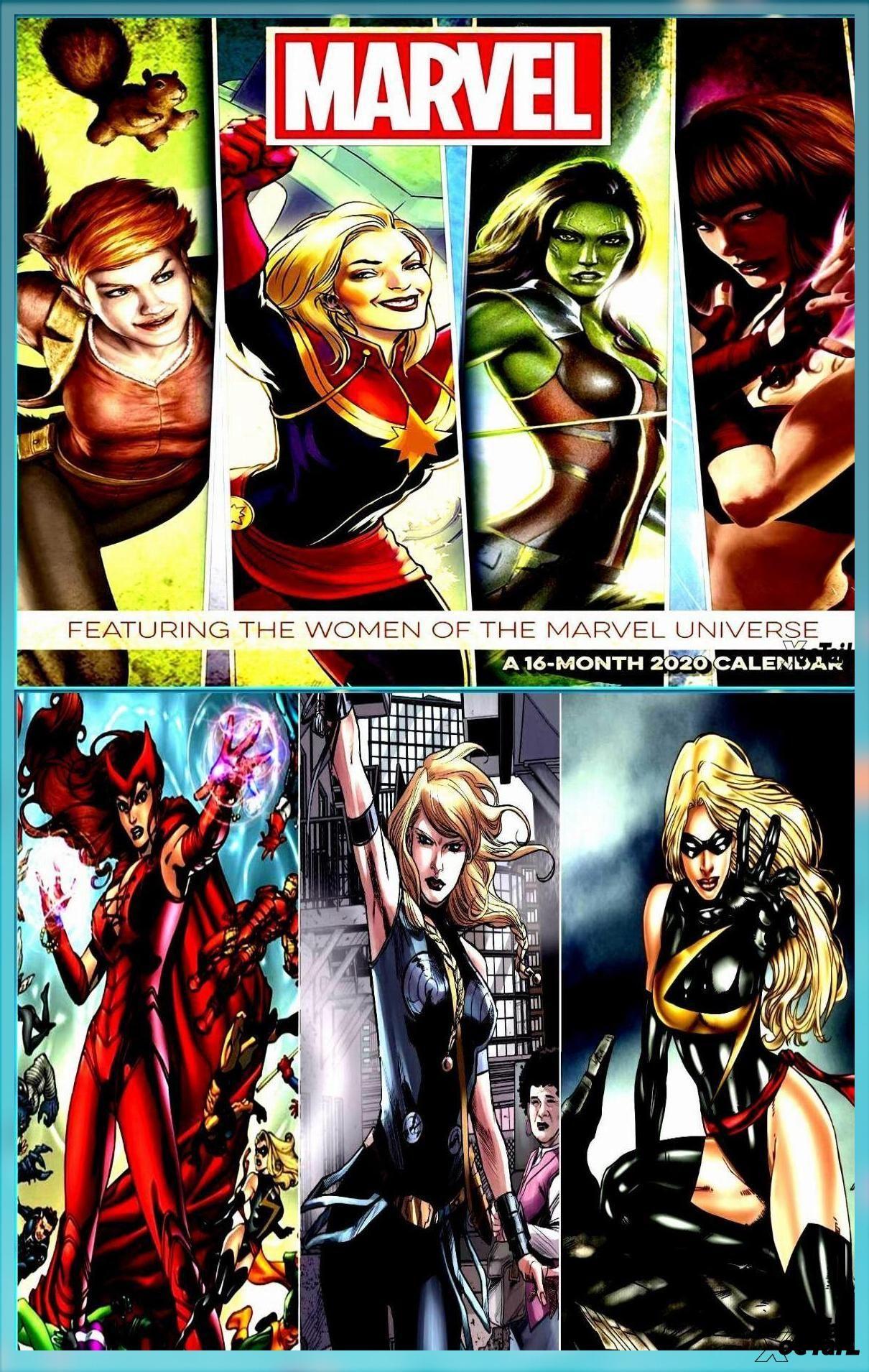 Women Of Marvel Comics Universe Comic Art 16 Month 2020 Wall Calendar New Sealed Avengers Marvel Female Marvel Comics Women Marvel Comics Marvel Comics Art