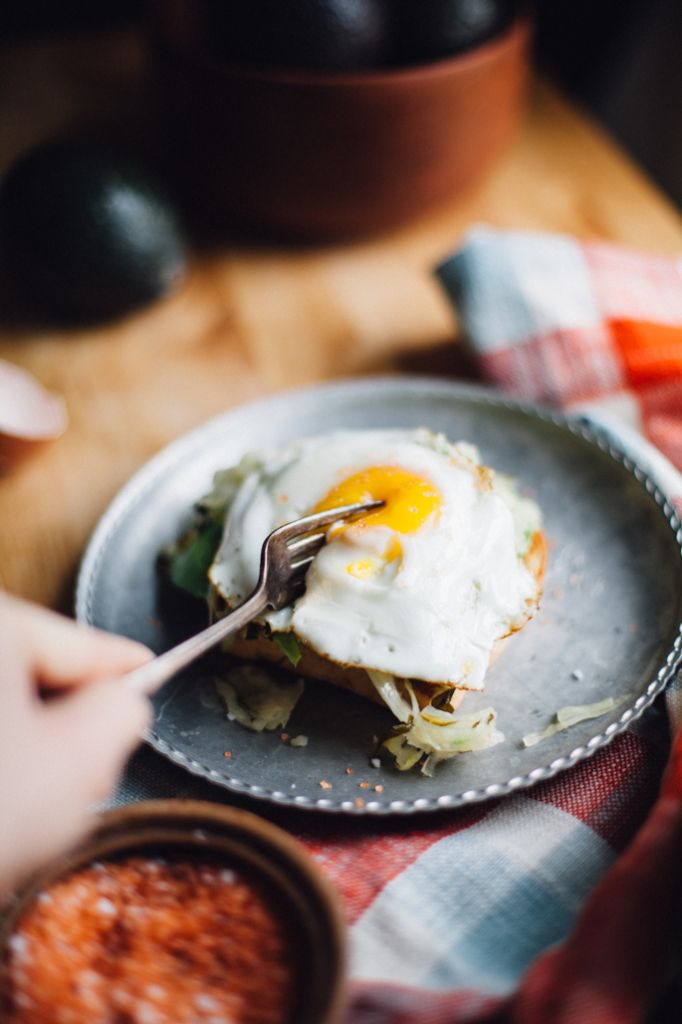 Fried Egg, Kraut, and Avocado Toast (Gluten Free)