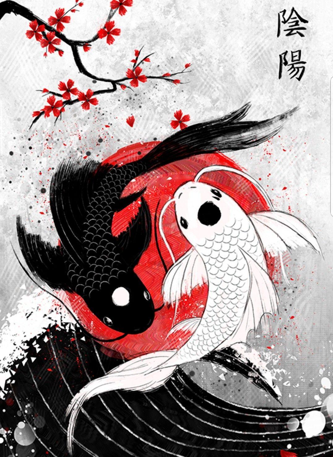 Pin By Fernando On Tattoo Koi Art Yin Yang Art Japanese Art