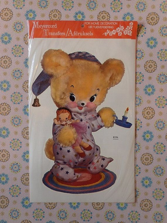 Vintage Meyercord Decal Transfer 'Bedtime For Teddy'