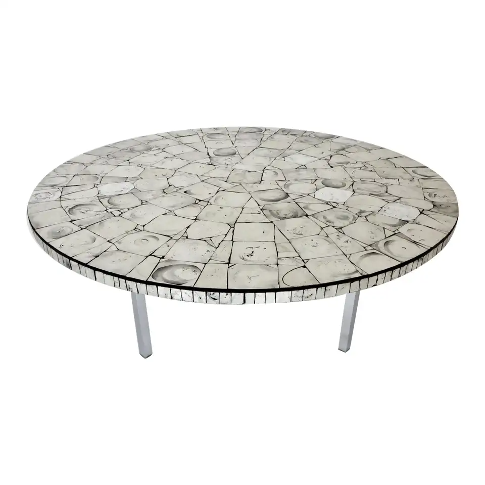Silver Leafed Glass Mosaic French Round Coffee Table On Chrome Legs In 2021 Coffee Table Mosaic Coffee Table Tiled Coffee Table [ 960 x 960 Pixel ]
