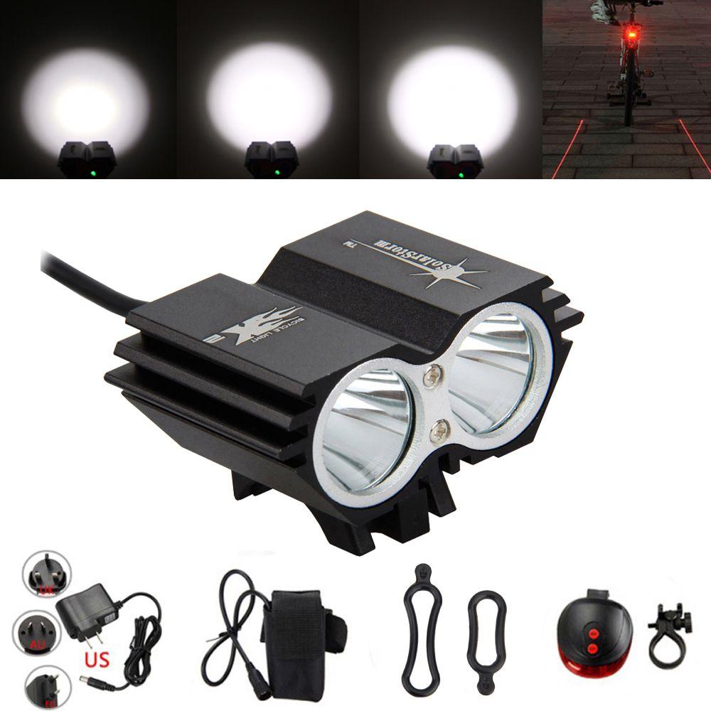 Bike Headlight LED Cycling Head Front Lights Back Safety Laser Rear Light