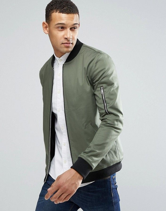 ASOS Muscle Fit Bomber Jacket With MA1 Pocket in Khaki