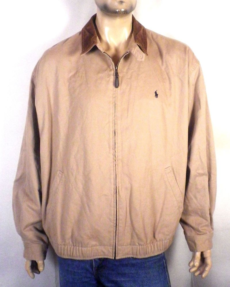 Cotton Jacket Brushed Beige Euc Bomber Polo Lauren Harrington Ralph deCBox
