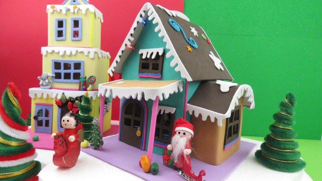 Casitas De Navidad Con Carton Y Foamy Manualidades Apasos Manualidades Casitas Artesanias Diy
