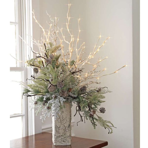 Ideas For Lighted Branches Vintage Christmas Decorations Christmas Centerpieces Christmas Table Decorations