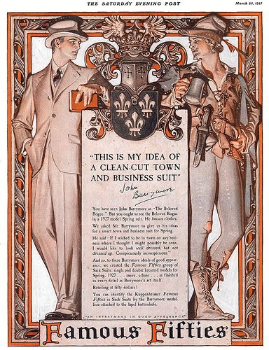 Kuppenheimer Clothing Ad featuring John Barrymore 1929  by  JC Leyendecker